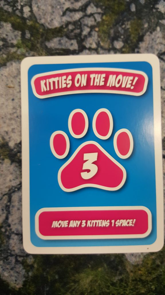 Kitties on the move cards allow you to move a number of kittens one space according to the card value. Or fewer kittens more distance.