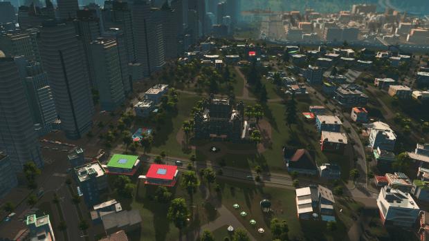 Cities Skylines with the Wayne Manor mod