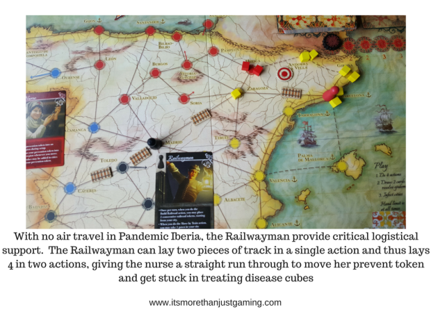 With no air travel in Pandemic Iberia, the Railwayman provide critical logistical support. The Railwayman can lay two pieces of track in a single action