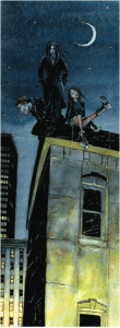 An image from Vampire V20 of a coterie on their domain rooftops