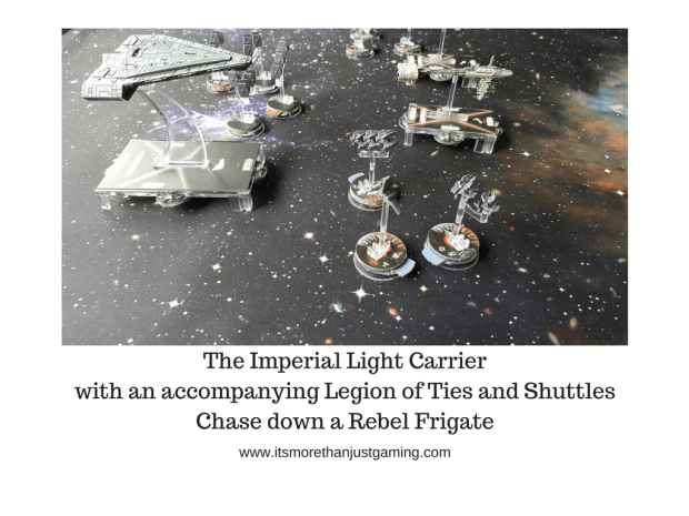 The Imperial Light Carrier with an accompanying Legion of Ties and Shuttles Chase down a Rebel Frigate