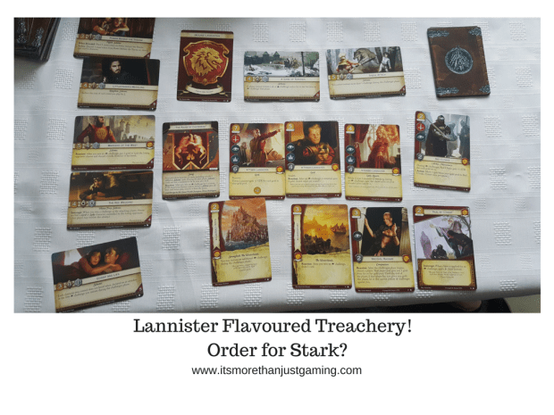 a selection of Lannister cards for the Game of Thrones Card Game