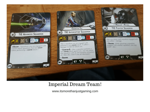 The Imperial Dream Team of Soontir Fel, Mauler Mithel and a squadron of Tie Advanced