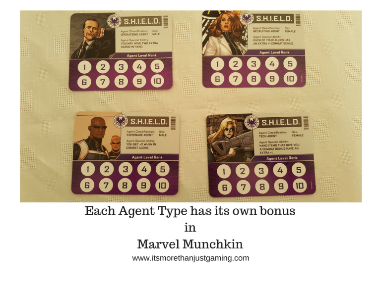 Each Agent Type has its own bonusinMarvel Munchkin