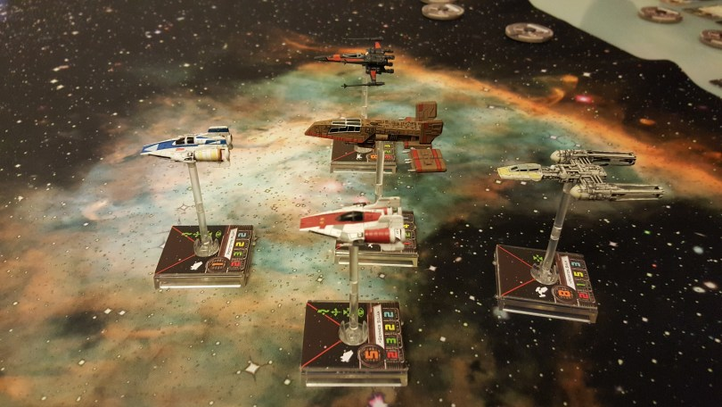 Kyle Katarn in an HWK290, Poe Dameron, Horton Salm and 2 A Wings