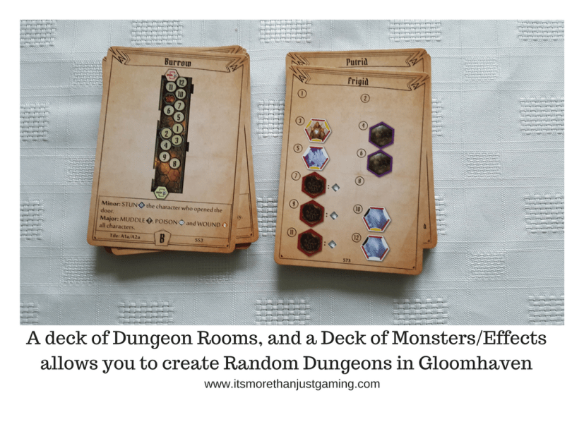 A deck of Dungeon Rooms, and a Deck of MonstersEffectsallows you to create Random Dungeons in Gloomhaven