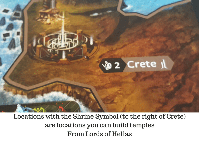 Locations with the Shrine Symbol (to the right of Crete) are locations you can build temples