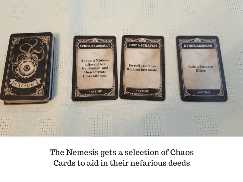 The Nemesis gets a selection of Chaos Cards to aid in their nefarious deeds