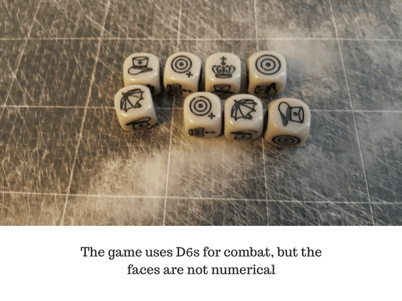 The game uses D6s for combat, but the faces are not numerical