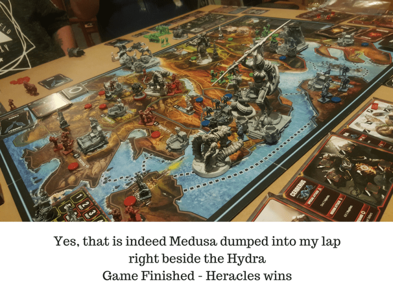 Yes, that is indeed Medusa dumped into my lapright beside the HydraGame Finished - Heracles wins