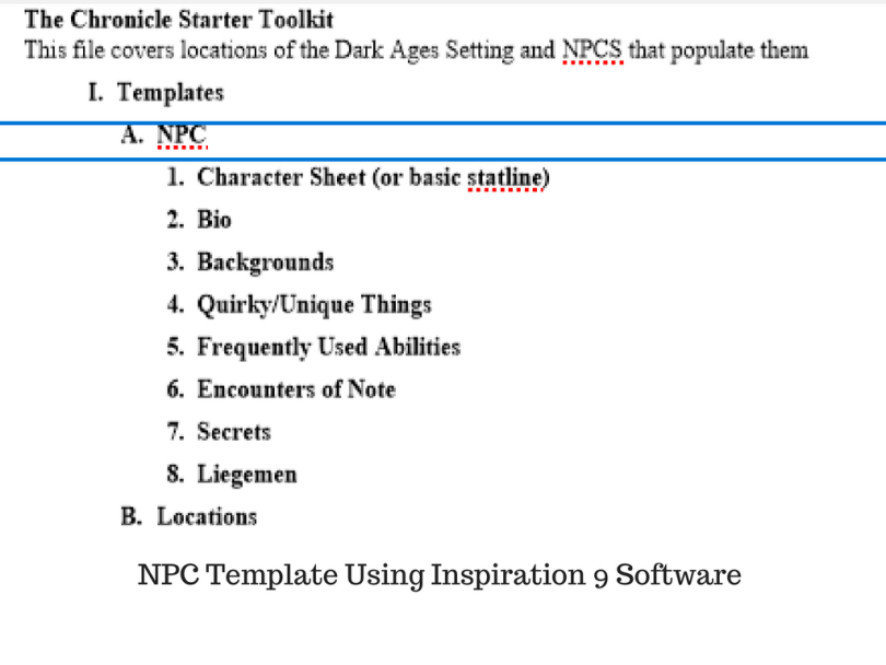 NPC Template Using Inspiration 9 Software
