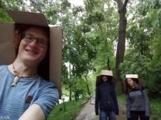 Us in Chisinau with our umbrellas