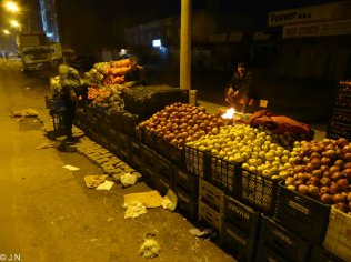 Fruit seller at night