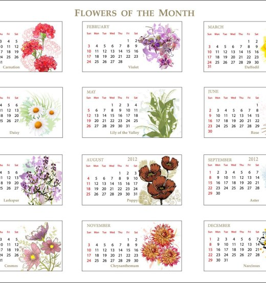 2013 Flowers of Month Calendar