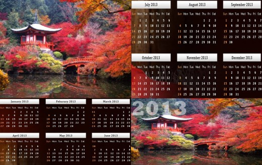 Calendar 2013-Natural Beauty Wallpapers HD background