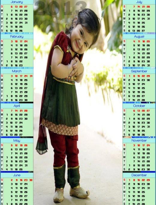 cute 2013 calendar for kids