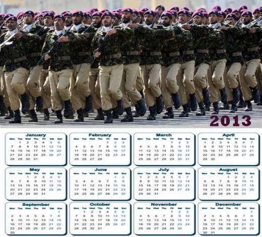 latest 2013 Calendar Pakistan Army SSG Commando HD widescreen wallpaper