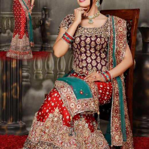 Most beautiful indian and pakistani bridal pictures for Most expensive wedding dress in india