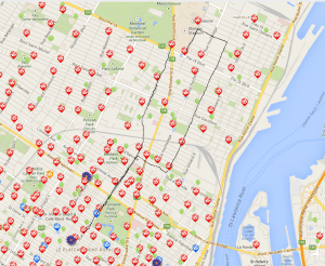 The line indicates my route, all of the circles are bixi sharing stations.