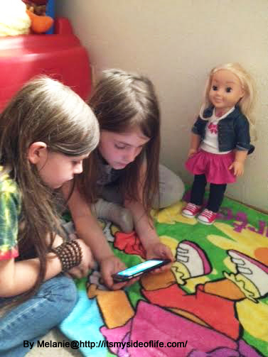 The girls are reading along with Cayla and area able to flip to the next page to see pictures throughout the story