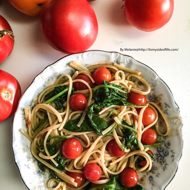 Nice refreshing pasta dish for a hot day or, simply a busy one!