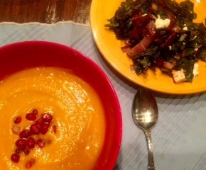 Spiced Butternut Squash Soup with Pomegranate and Roasted Feta Swiss Chard