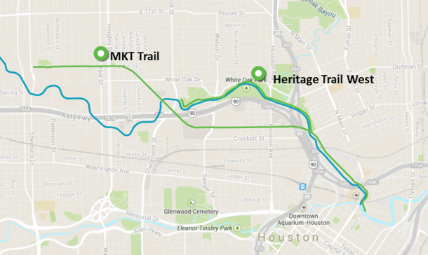 White Oak Bayou Running Trails Houston Heritage Trail MKT Trail Houston Heights