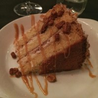 Coconut cake with candied almonds.
