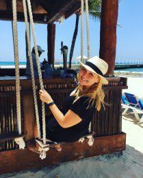Beach-side, swing-filled bar.