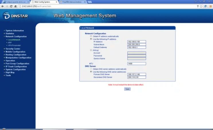 Configuración de red LAN GW Dinstar