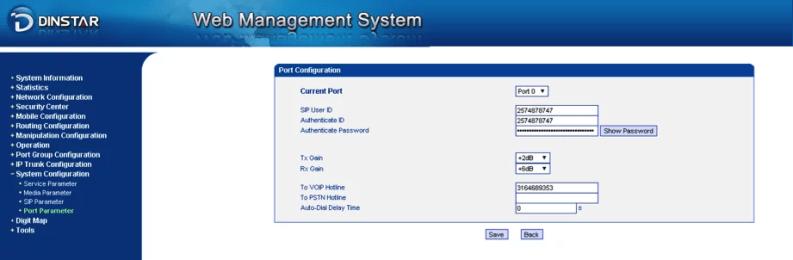 Port parameter configuration GW Dinstar