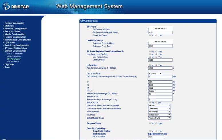 Sip parameters GW Dinstar