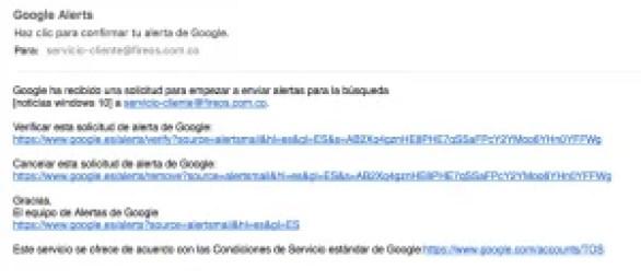 Correo de confirmación de Google Alerts