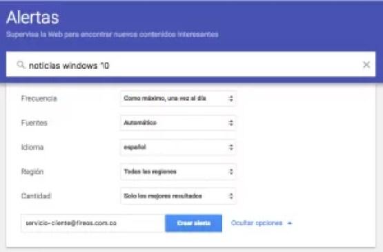 Más opciones de Google Alerts