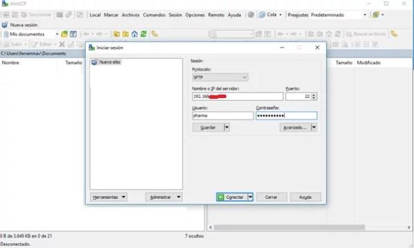 Ingreso con winscp al servidor OpenVPN