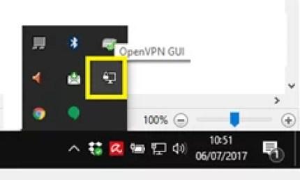Barra de tareas de OpenVPN