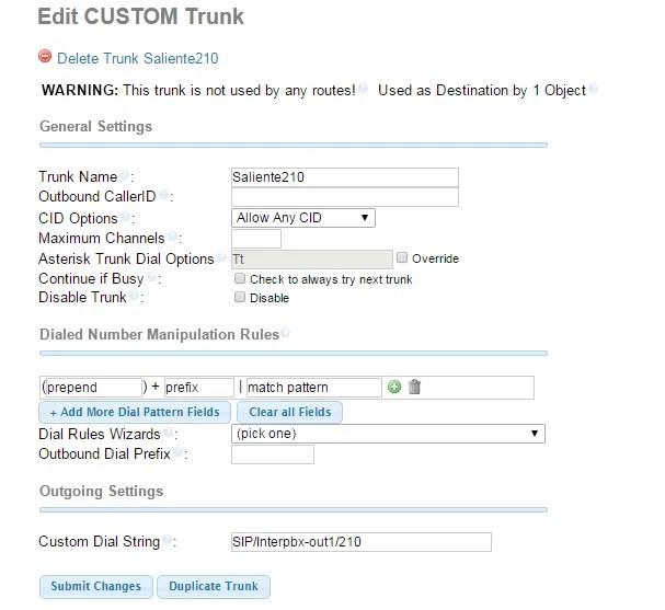 Customer Trunk Asterisk