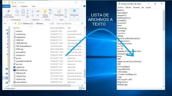 Guardar en texto un listado de archivos