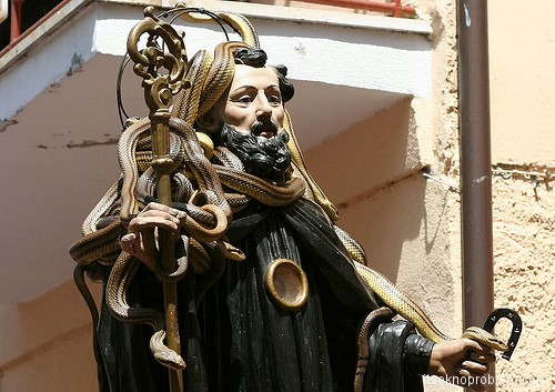 The festival of snakes in Italy (Procession of Serpari)