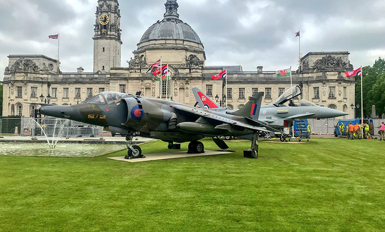 The Royal Air Force 100 year tour flies into Cardiff