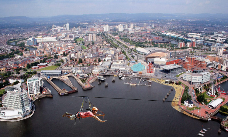 CARDIFF'S LATEST ATTRACTION – 150ft HIGH ZIP LINE-ACROSS CARDIFF BAY