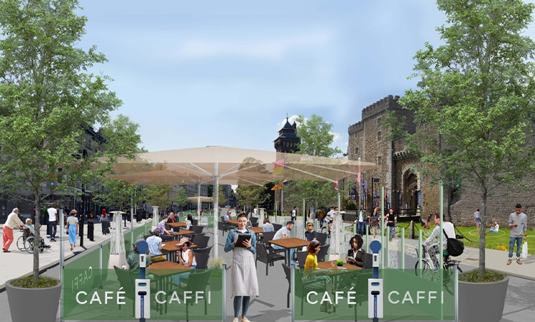 Castle streets new outdoor eating area.