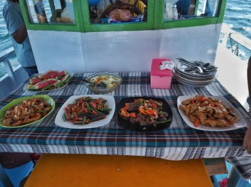 Food served on the boat