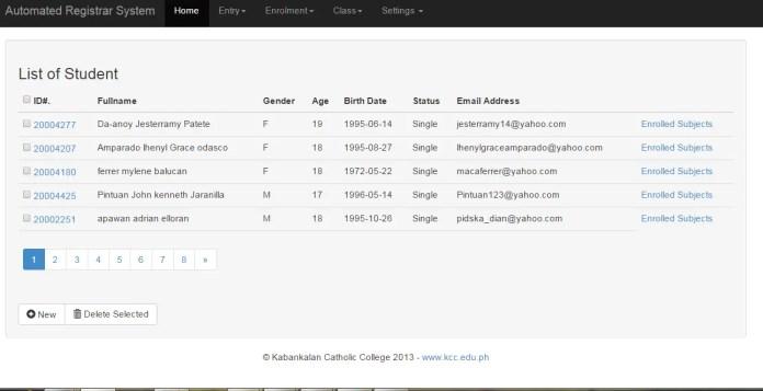 Online enrollment system List of Student