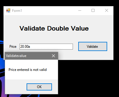 How to Validate Double Value in VB Net