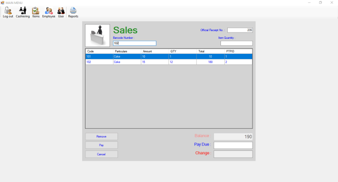 Simple Cashiering System using MYSQL in VB.Net