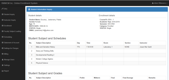 school management System project in php