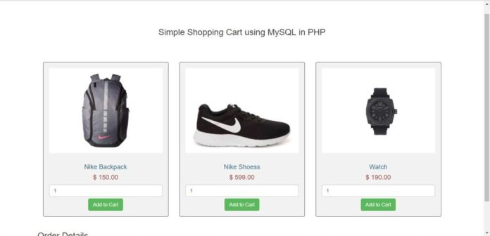 Shopping Cart using PHP and MySQL php project