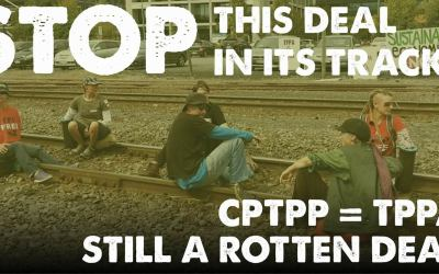 Group Our Children's Future lock themselves to train tracks in protest of the TPPA