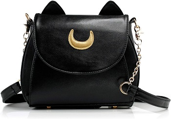 Cute Black crossbody bag with chain strap and golden moon